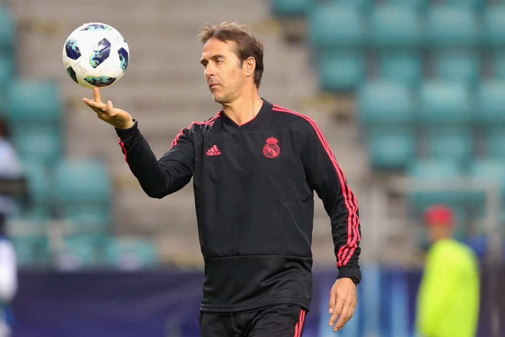 TALLINN, ESTONIA - AUGUST 14: Julen Lopetegui, head coach of Real Madrid CF plays with the ball during a training session ahead of the UEFA Super Cup match against Atletico Madrid at Lillekuela Stadium on August 14, 2018 in Tallinn, Estonia. (Photo by Alexander Hassenstein/Getty Images)