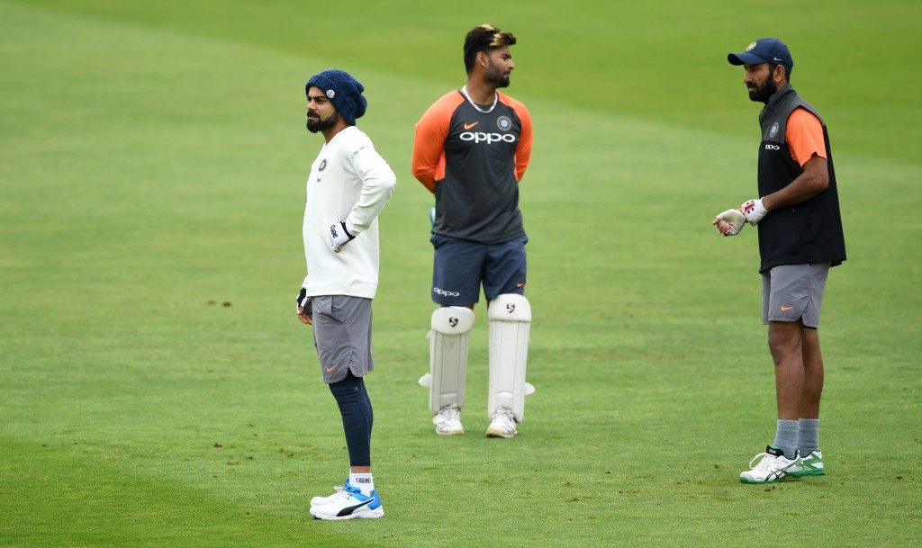 Rishabh Pant could be seen practicing his wicketkeeping.