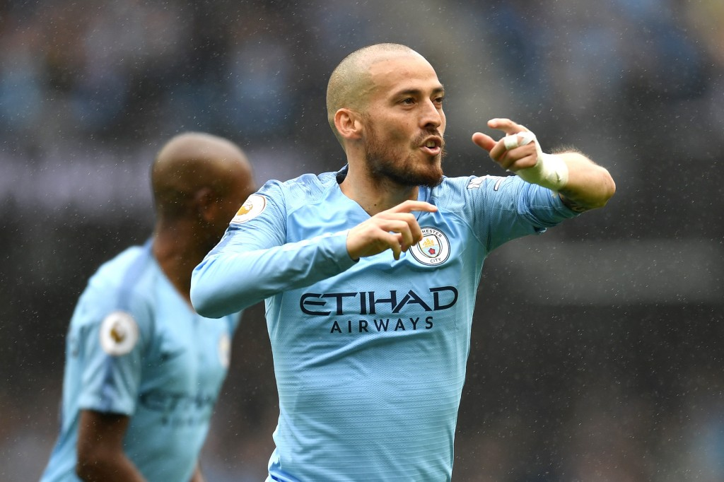 David Silva celebrates his sensational free-kick against Huddersfield