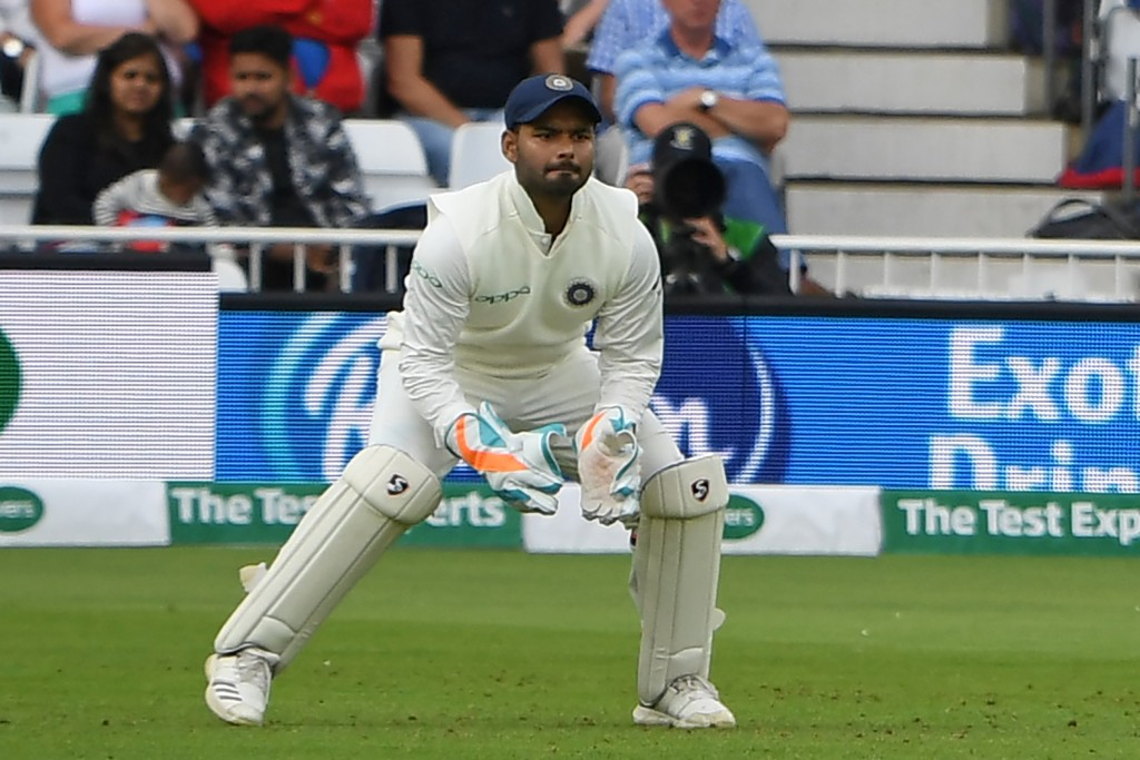 India's wicketkeeper Rishabh Pant, who's taken five catches on his test debut, keeping wicket during play on the second day of the third Test cricket match between England and India at Trent Bridge in Nottingham, central England on August 19, 2018. (Photo by Paul ELLIS / AFP) / RESTRICTED TO EDITORIAL USE. NO ASSOCIATION WITH DIRECT COMPETITOR OF SPONSOR, PARTNER, OR SUPPLIER OF THE ECB (Photo credit should read PAUL ELLIS/AFP/Getty Images)