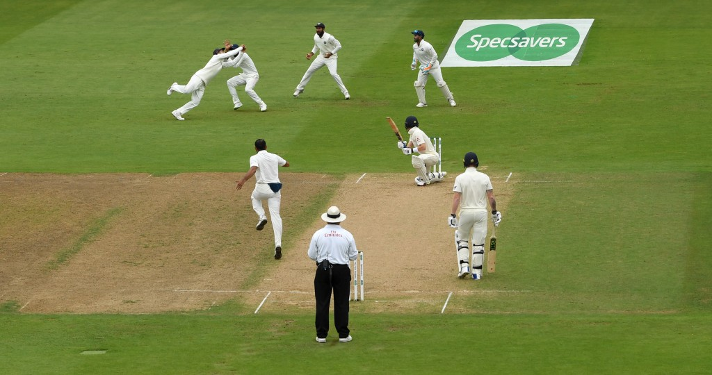Pope loses his head and his wicket.
