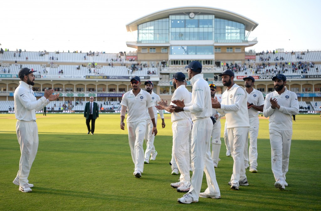 NOTTINGHAM, ENGLAND - AUGUST 21: Jasprit Bumrah of India leads his team from the field at stumps on day four of the Specsavers 3rd Test match between England and India at Trent Bridge on August 21, 2018 in Nottingham, England. (Photo by Gareth Copley/Getty Images)