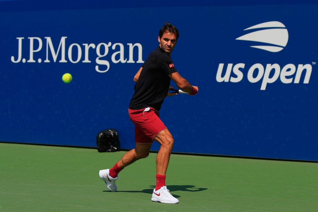 NEW YORK, NY - AUGUST 26:  Roger Federer of Switzerland trains prior to the start of the 2018 US Open at the USTA Billie Jean King National Tennis Center on August 26, 2018 in the Flushing neighborhood of the Queens borough of New York City.  (Photo by Chris Trotman/Getty Images for USTA)