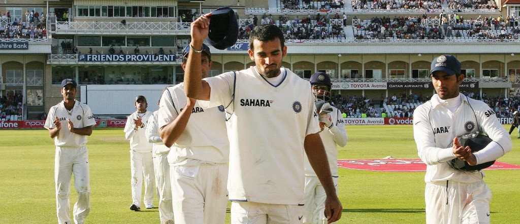 India's Zaheer Khan (C) leaves the field after taking nine wickets in two innings against England at Trent Bridge, Nottingham, central England, 30 July 2007 during the fourth day of the second cricket test. AFP PHOTO PAUL ELLIS (Photo credit should read PAUL ELLIS/AFP/Getty Images)