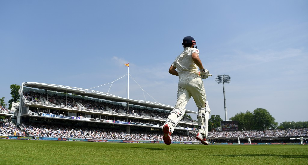 LONDON, ENGLAND - MAY 26: Alastair Cook of England runs out to bat during day three of the 1st NatWest Test match between England and Pakistan at Lord's Cricket Ground on May 26, 2018 in London, England. (Photo by Gareth Copley/Getty Images)