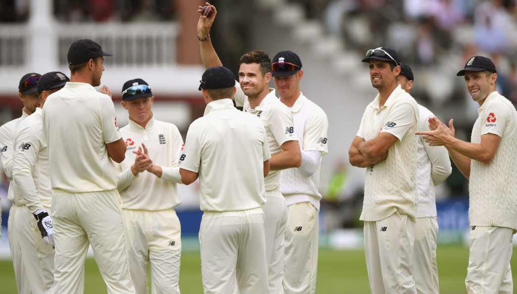 James Anderson celebrates the wicket of Murali Vijay, his 100th Test wicket at Lord