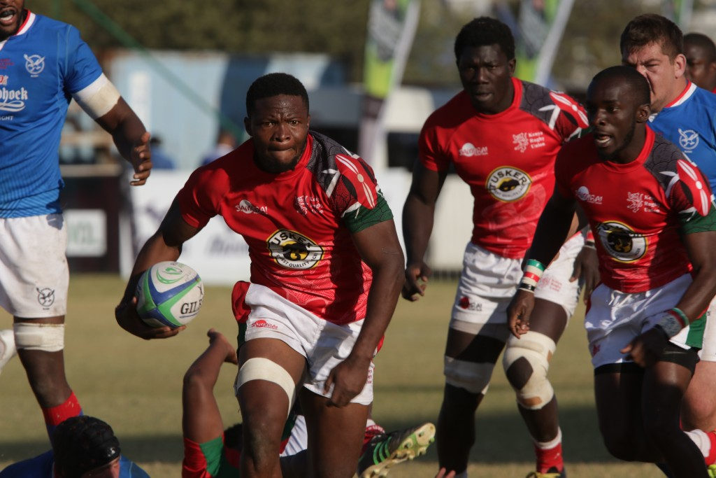 Kenya's Dalmas Chituyi on the attack against Namibia