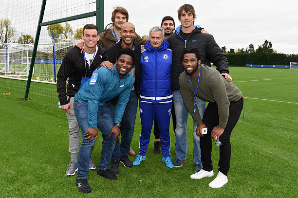 Kolisi (r) with good friend Eben Etzebeth (second from r) and then Chelsea coach Jose Mourinho in 2015