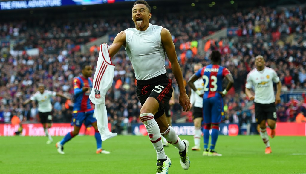 Jesse Lingard scores the winning goal in the 2016 FA Cup final.
