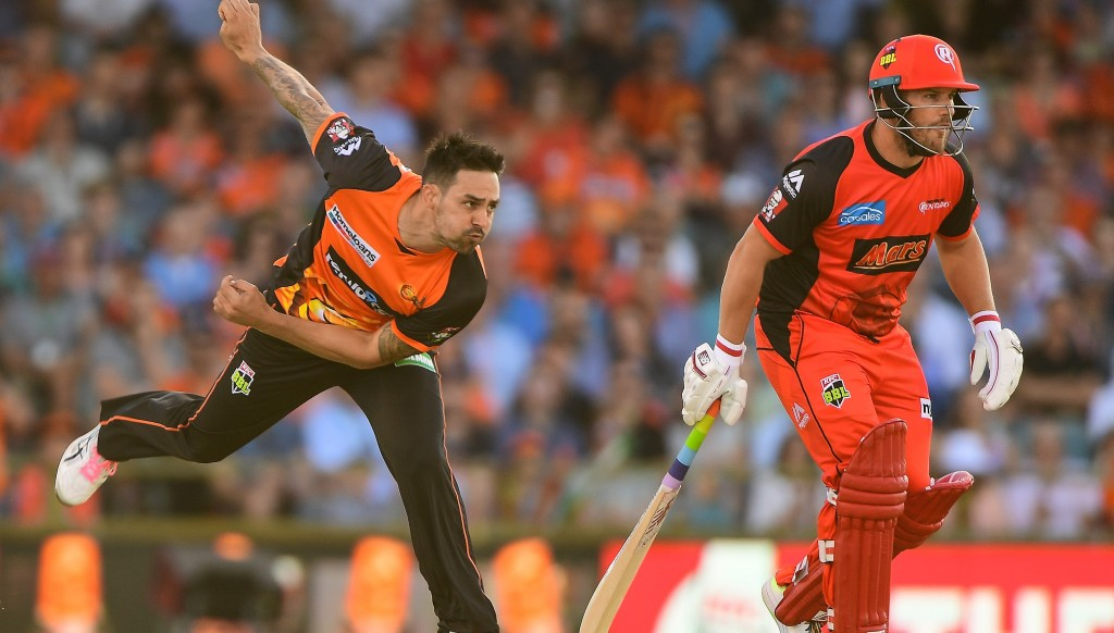 Mitchell Johnson in action for the Perth Scorchers