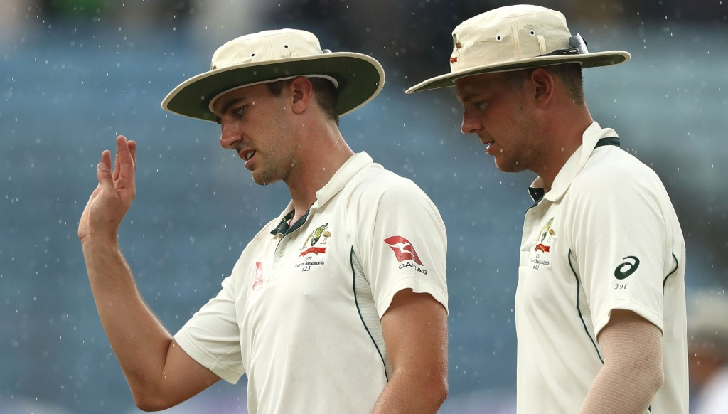 Pat Cummins (l) and Josh Hazlewood have been ruled out of the series against Pakistan