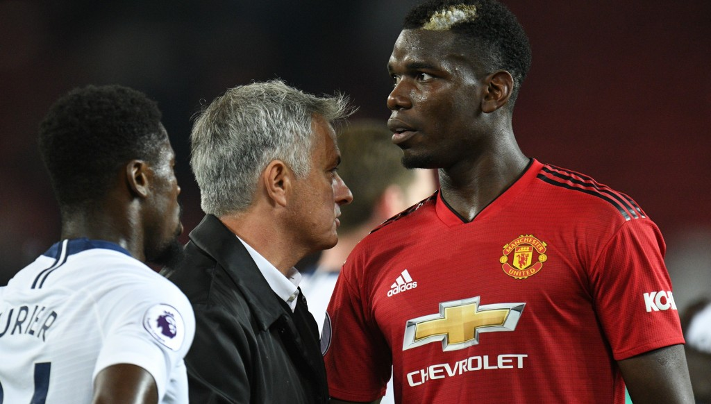 Paul Pogba and Jose Mourinho after Spurs
