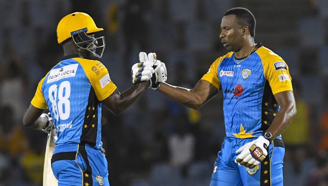Darren Sammy (l) and Kieron Pollard of St Lucia Stars. Image: CPL T20/Getty Images
