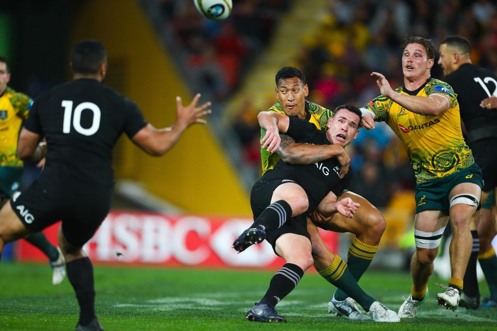 Ryan Crotty in a rare moment of panic against Australia in Brisbane in 2017