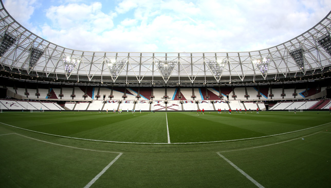 STRATFORD, ENGLAND - APRIL 10: A general view inside the stadium as players warm up prior to the Premier League 2 match between West Ham United and Middlesbrough at London Stadium on April 10, 2017 in Stratford, England. (Photo by Alex Pantling/Getty Images)