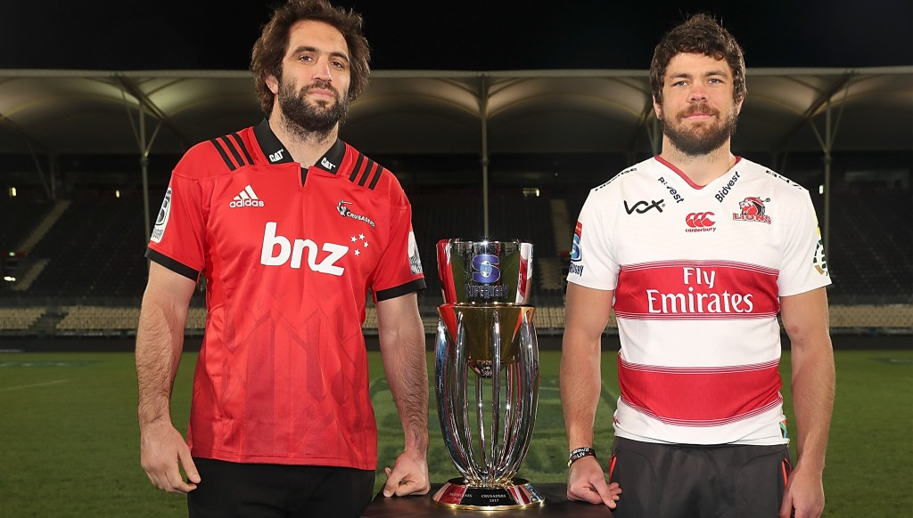 Sam Whitelock of the Crusaders and Warren Whiteley of the Lions - the winning captain is on the left
