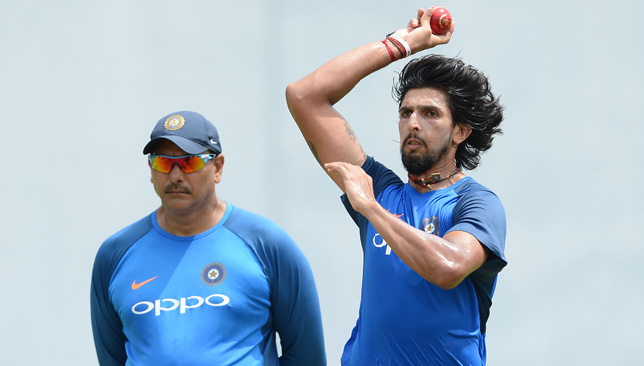 Coach Ravi Shastri with pacer Ishant Sharma.