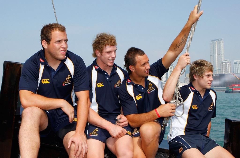 Young Wallabies (L-R) Ben Alexander, Pocock, Quade Cooper and James O'Connor back in 2008