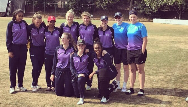 Esha Oza (back row, left) with her team-mates in England