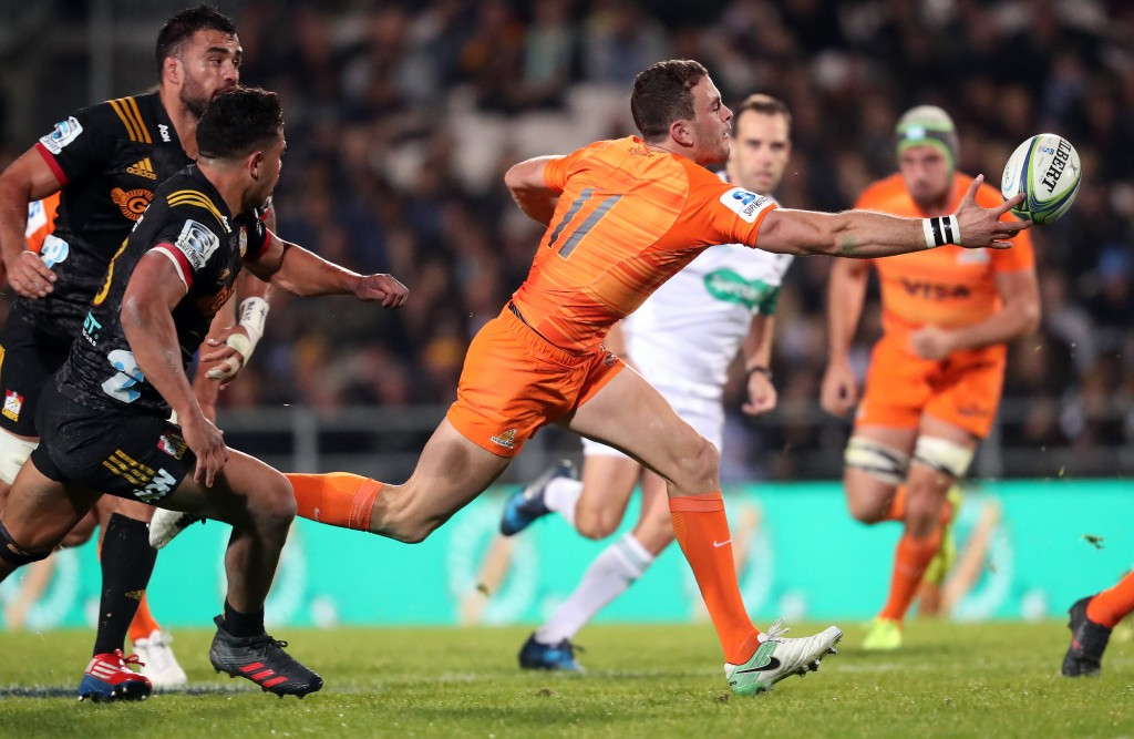 Boffelli reaches for a ball against the Chiefs - a game the Jaguares won 23-19