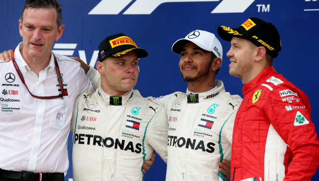 Vettel, Bottas and Hamilton.