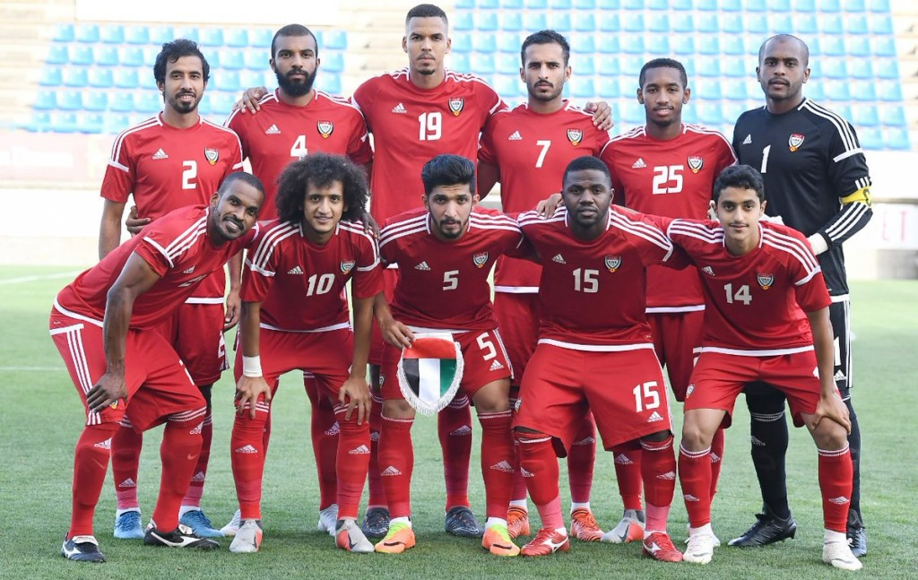 Omar Abdulrahman (2nd l, bottom row) with his UAE team-mates before the Laos clash.