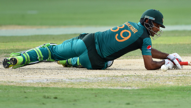 Pakistan batsman Fakhar Zaman looks on after playing a shot during the one day international (ODI) Asia Cup cricket match between Pakistan and India at the Dubai International Cricket Stadium in Dubai on September 23, 2018. (Photo by ISHARA S. KODIKARA / AFP) (Photo credit should read ISHARA S. KODIKARA/AFP/Getty Images)