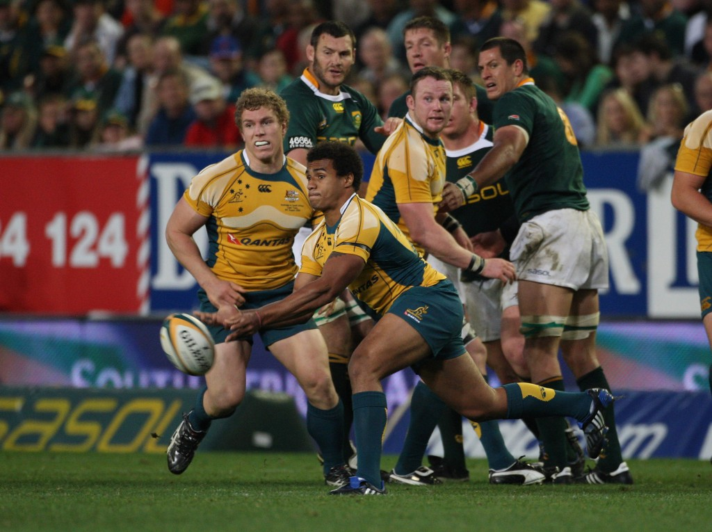 Genia in his test debut against the Boks in Cape Town in 2009 - David Pocock is in the background and Bakkies Botha
