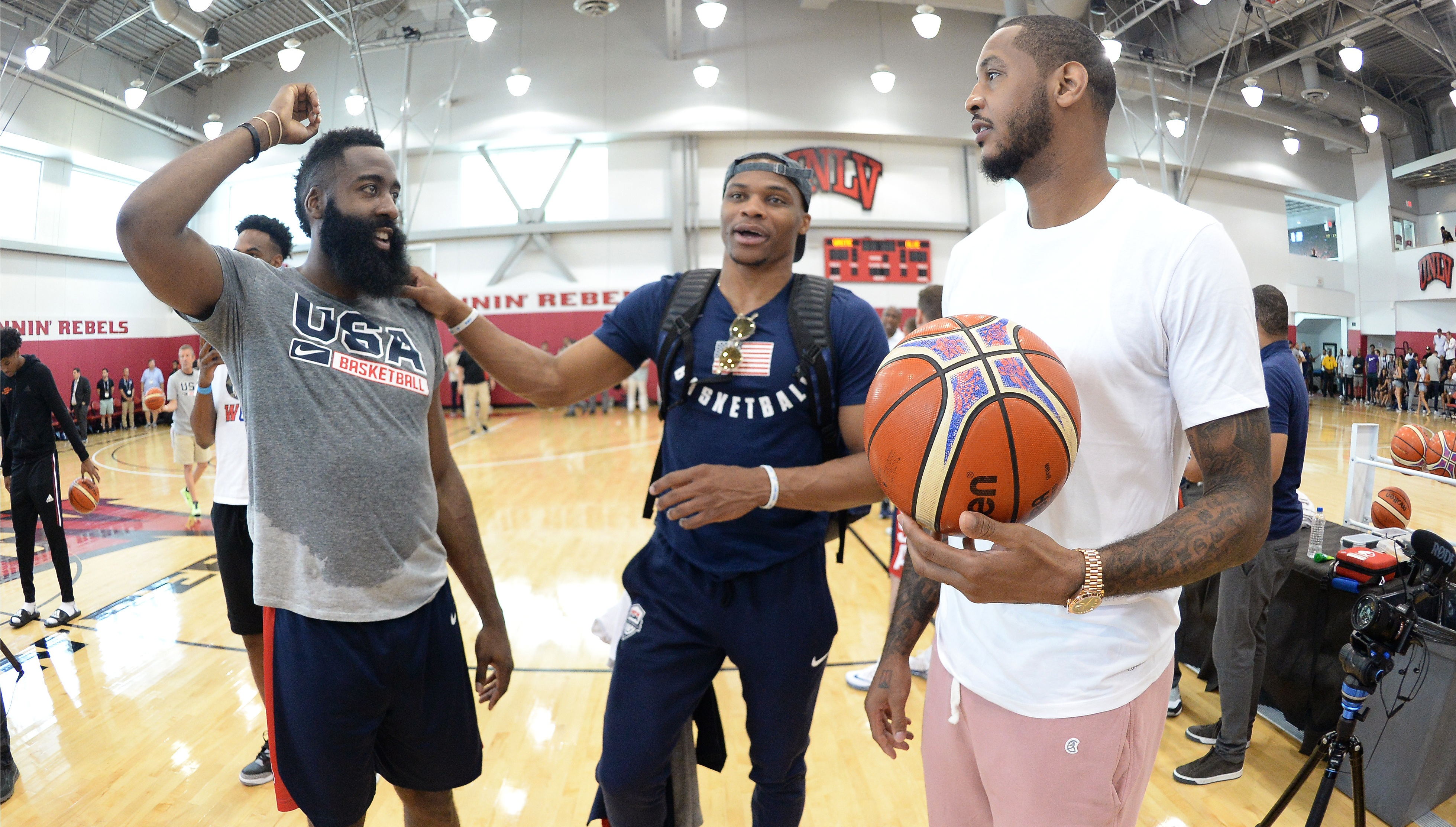 69aef7fa6c0 Watch  James Harden excited by qualities Carmelo Anthony brings to Houston  Rockets