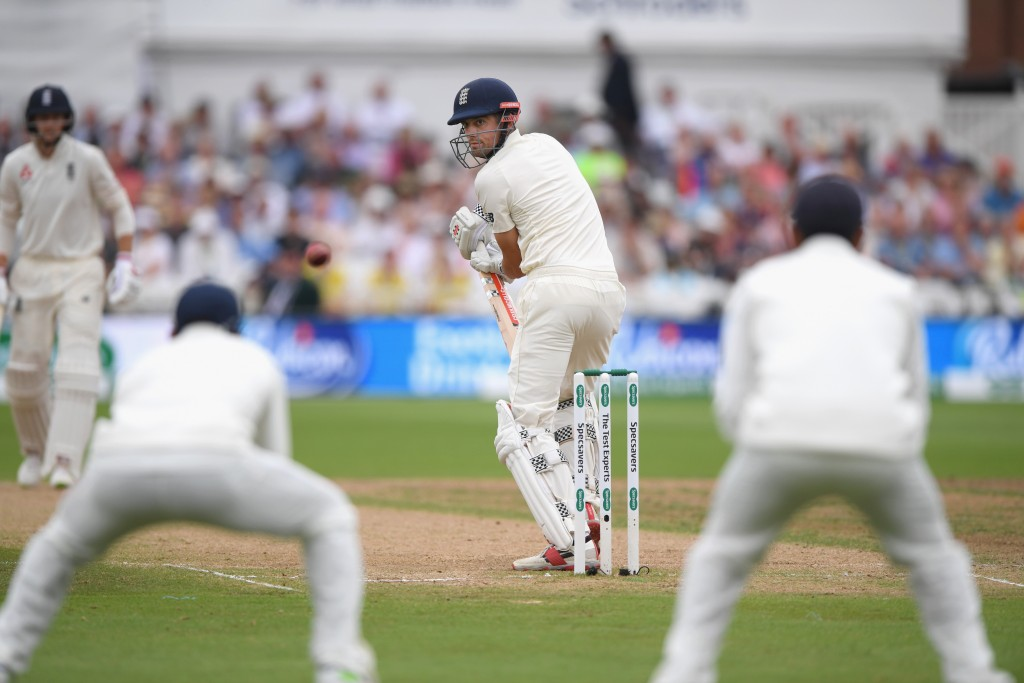 NOTTINGHAM, ENGLAND - AUGUST 21: England batsman Alastair Cook looks behind after edging the ball to Rahul off the bowling of Ishant Sharma for 17 runs during day four of the 3rd Specsavers Test Match between England and India at Trent Bridge on August 21, 2018 in Nottingham, England. (Photo by Stu Forster/Getty Images)