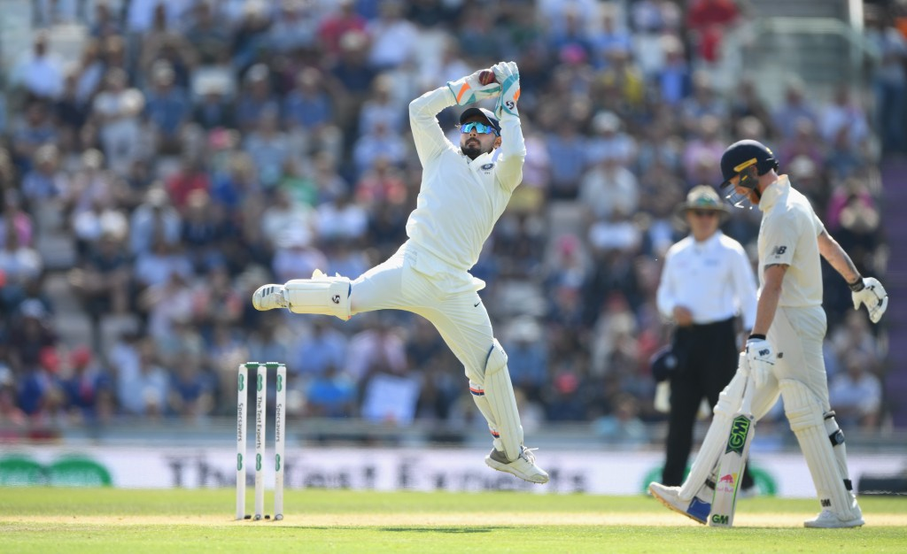 SOUTHAMPTON, ENGLAND - SEPTEMBER 01: India wicketkeeper Rishabh Pant in action during day three of the 4th Specsavers Test between England and India at The Ageas Bowl on September 1, 2018 in Southampton, England. (Photo by Stu Forster/Getty Images)