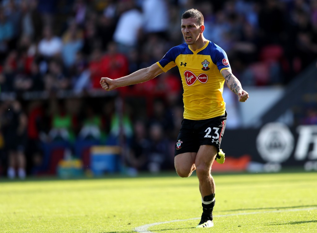 Pierre-Emile Hojbjerg celebrates after adding a second for Southampton at Crystal Palace