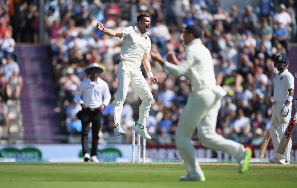 SOUTHAMPTON, ENGLAND - SEPTEMBER 02: England bowler James Anderson celebrates after having India batsman Shikhar Dhawan caught during the 4th Specsavers Test Match between England and India at The Ageas Bowl on September 2, 2018 in Southampton, England. (Photo by Stu Forster/Getty Images)