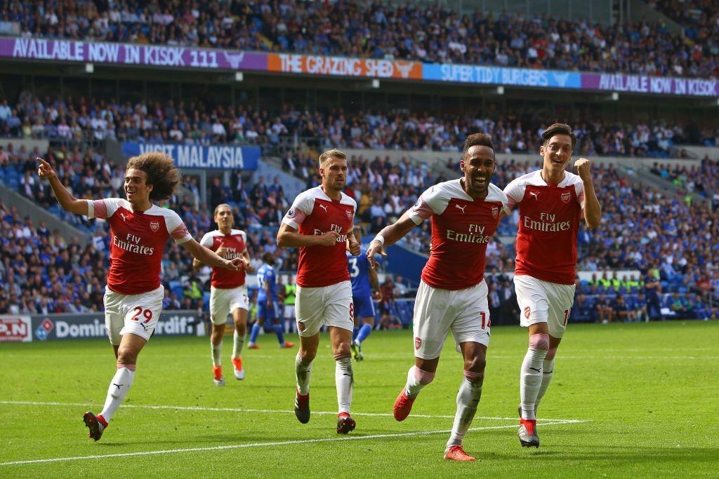 Pierre-Emerick Aubameyang celebrates his goal.