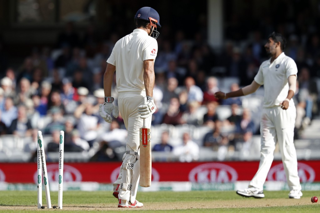 Cook played on a Bumrah delivery on to his stumps.