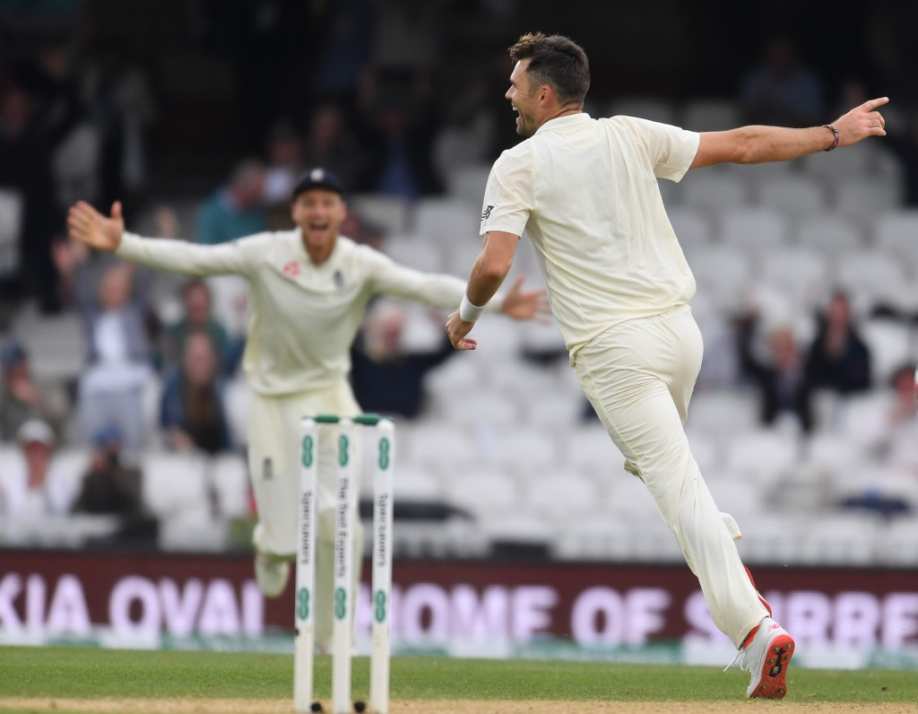 Anderson wheels away in celebration after claiming his 564th wicket.