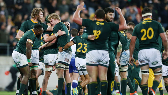South Africa celebrate a historic win.