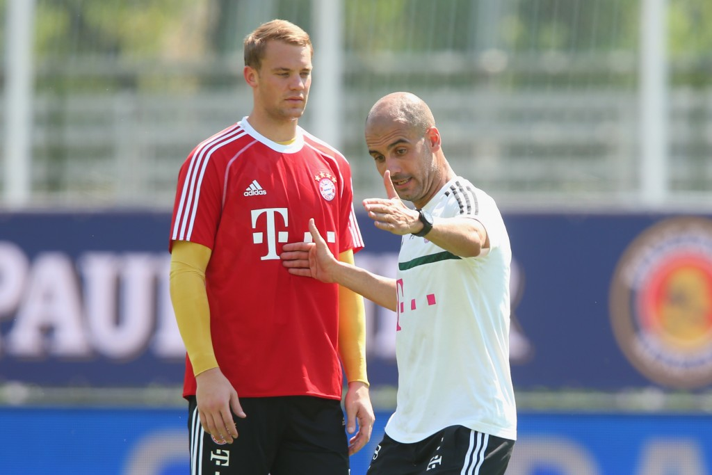 Manuel Neuer and Pep Guardiola.