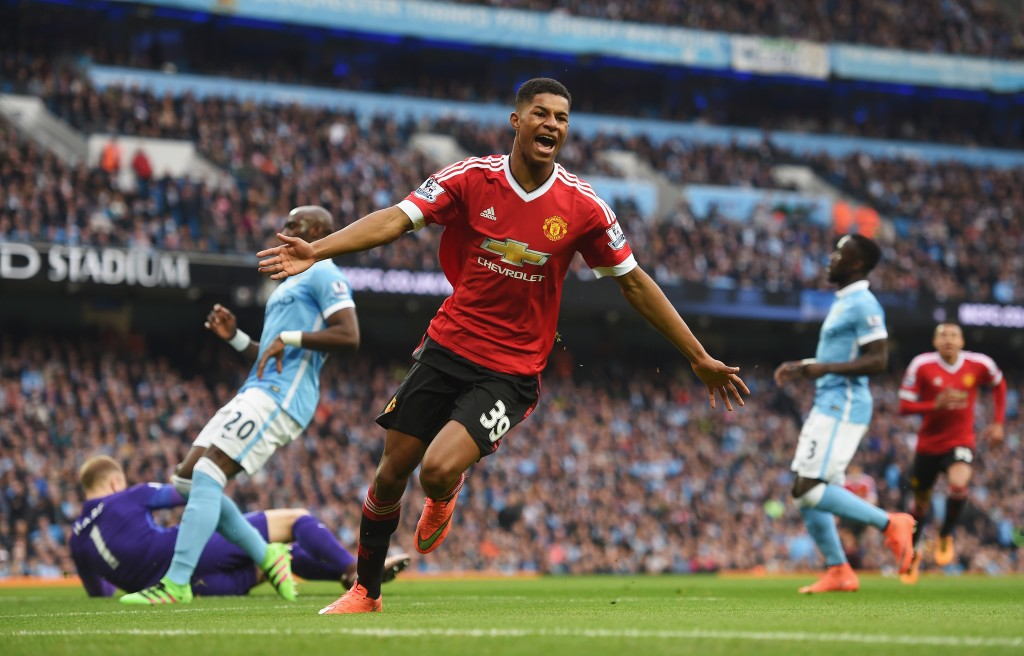 MANCHESTER, ENGLAND - MARCH 20: Marcus Rashford of Manchester United celebrates as he scores their first goal during the Barclays Premier League match between Manchester City and Manchester United at Etihad Stadium on March 20, 2016 in Manchester, United Kingdom. (Photo by Michael Regan/Getty Images)