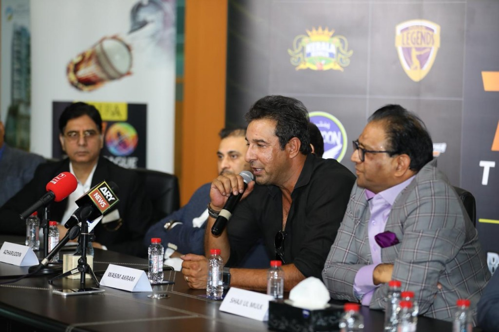 Pakistan legend Wasim Akram at the announcement.