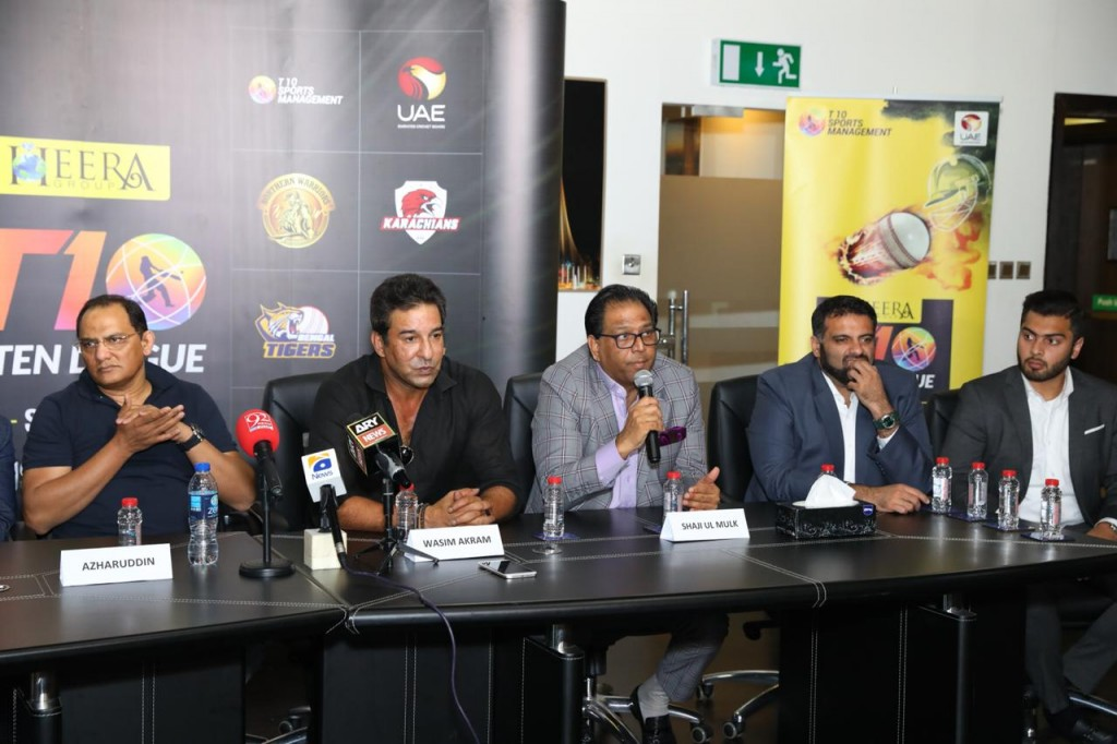 Wasim Akram and the other dignitaries at the press conference.