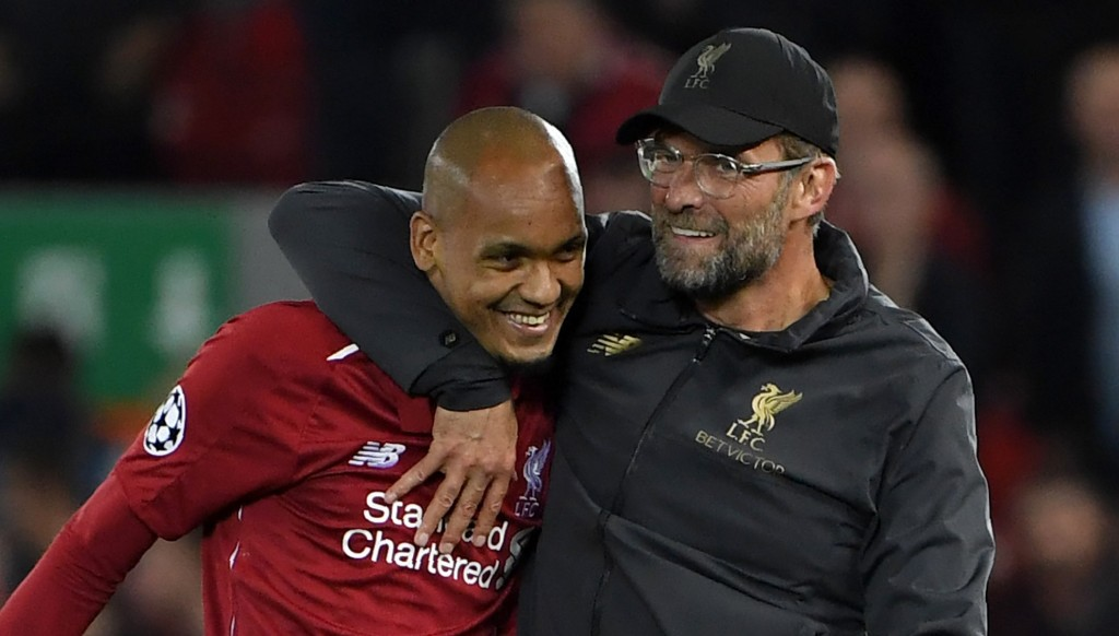 Jurgen Klopp and Fabinho are delighted after the win over PSG