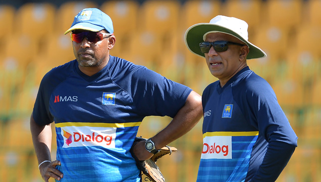 Chandika Hathurusingha (right) has been in charge since November 2017