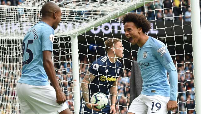 Leroy Sane (right) was in fine form for City