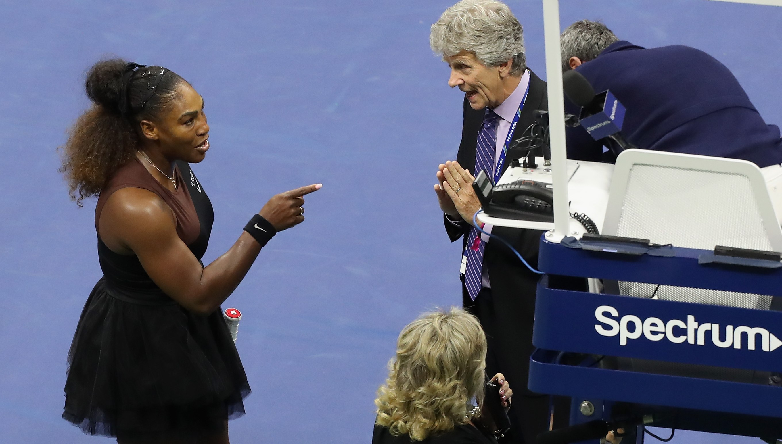 Serena Williams confronts officials at the US Open