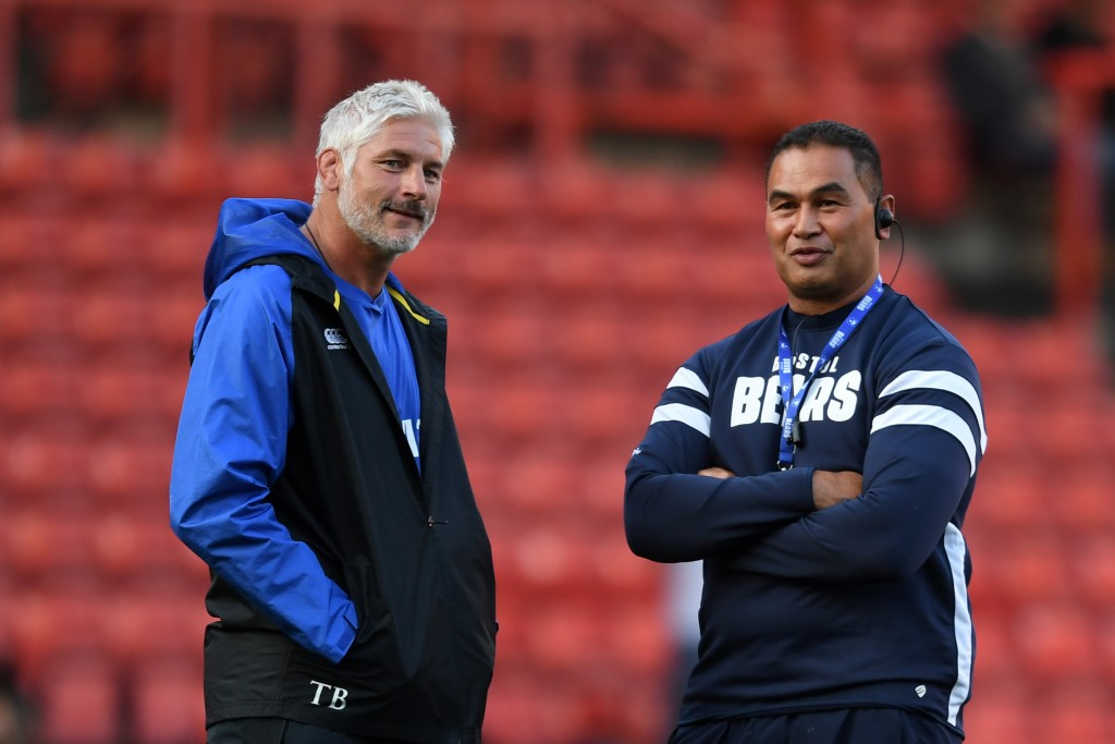 Bath's Todd Blackadder and Bristol coach Pat Lam.