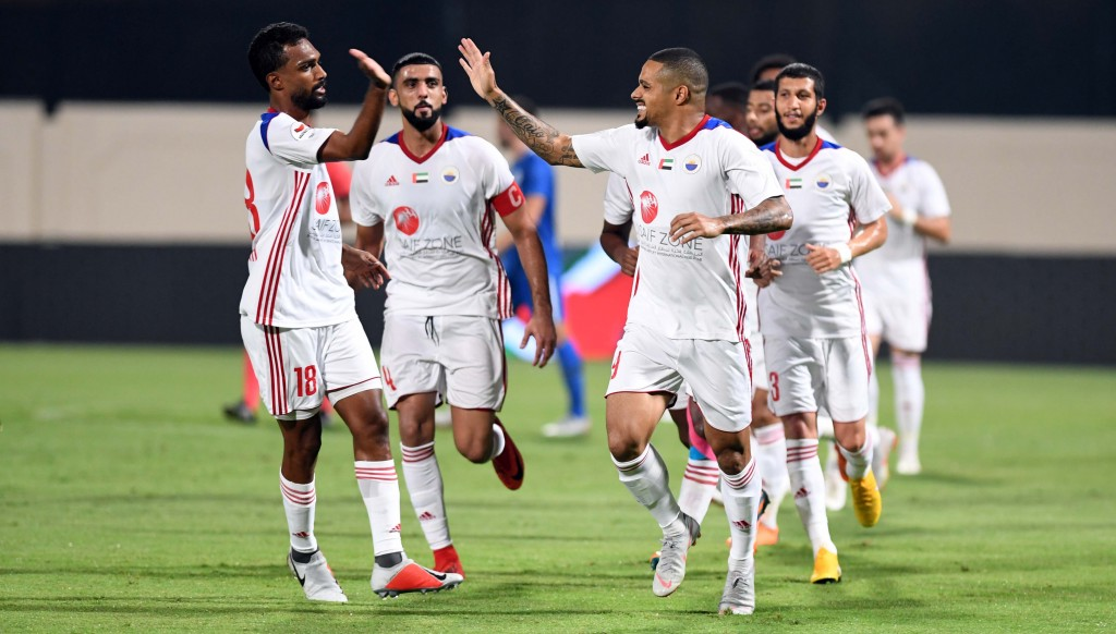 The King is here: Welliton celebrates one of his four goals against Al Nasr.