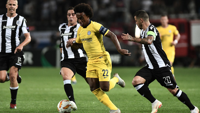 Willian was on target for Chelsea