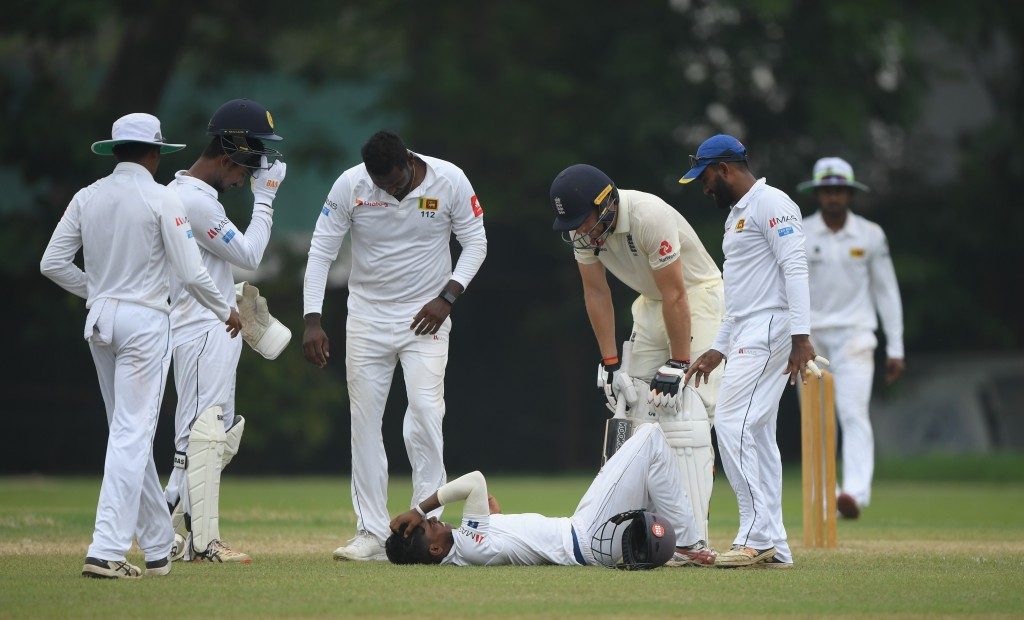 Sri Lankan player Pathum Nissanka suffered a blow to the head while fielding.