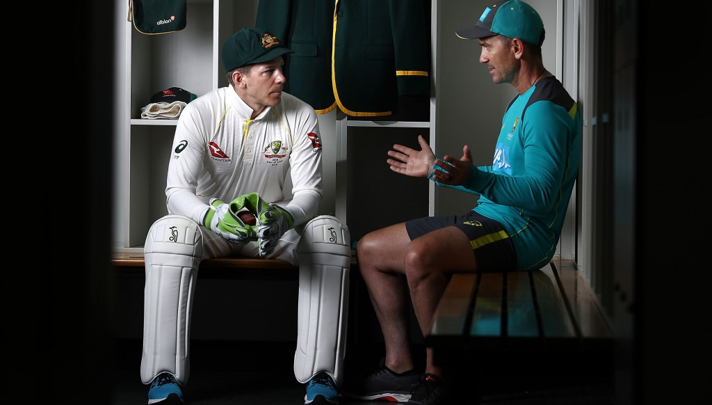Australian Test captain Tim Paine and coach Justin Langer